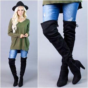 🆕PREORDER Black Drawstring Thigh High Boots